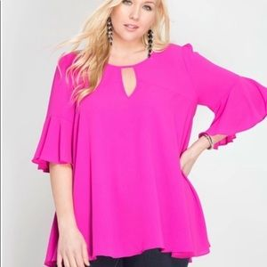NWOT She and Sky Plus Size Pink Top 1X